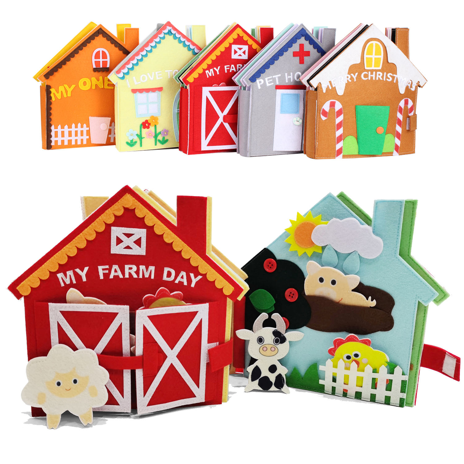 Amazon My farm day soft felt educational baby travel toys quiet book busy book for toddlers