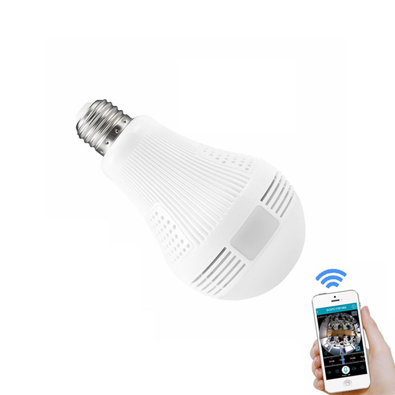 Fisheye IP Camera Onvif Two Way Audio 360 Degree Panoramic Wifi Light Bulb Fisheye CCTV Wireless Smart Camera support TF Cards