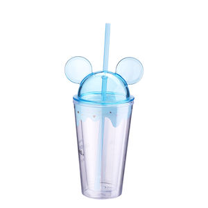 Custom Self-Cooling BPA Free Double Wall 400ML Plastic Mickey Mouse Tumbler Cups Wholesale With Lid