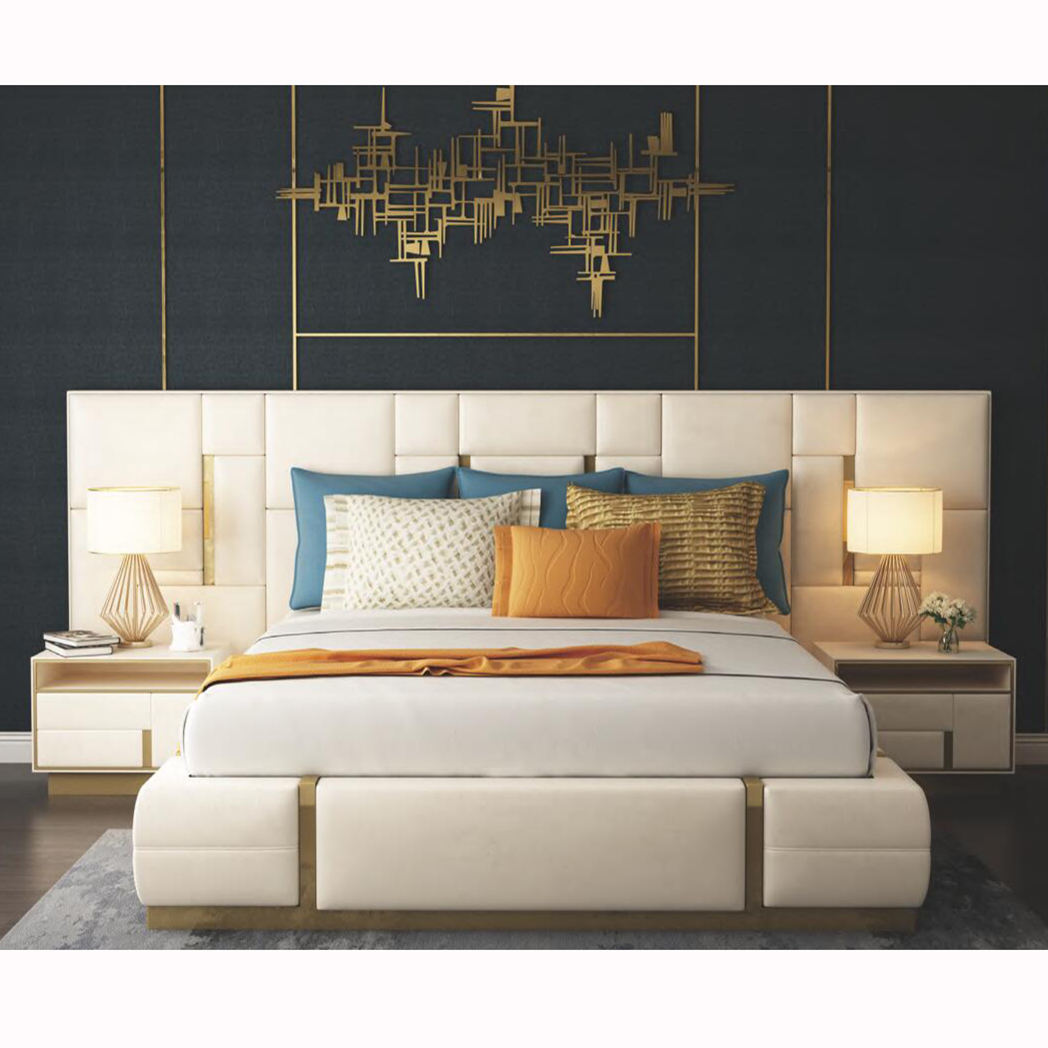 Moderna camera da <span class=keywords><strong>letto</strong></span> di lusso mobili imbottiti in vera pelle italiana <span class=keywords><strong>letto</strong></span> con estesa testata king size <span class=keywords><strong>bianco</strong></span> <span class=keywords><strong>letto</strong></span> in pelle