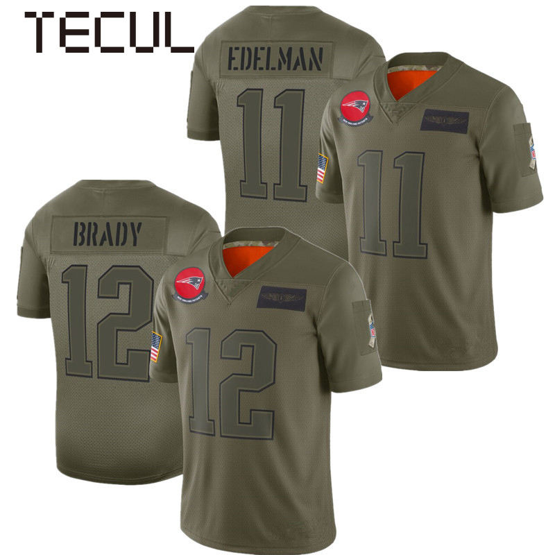 TECUL american football jersey customized Patriots #12 Brady 11 tribute army green football clothing rugby top