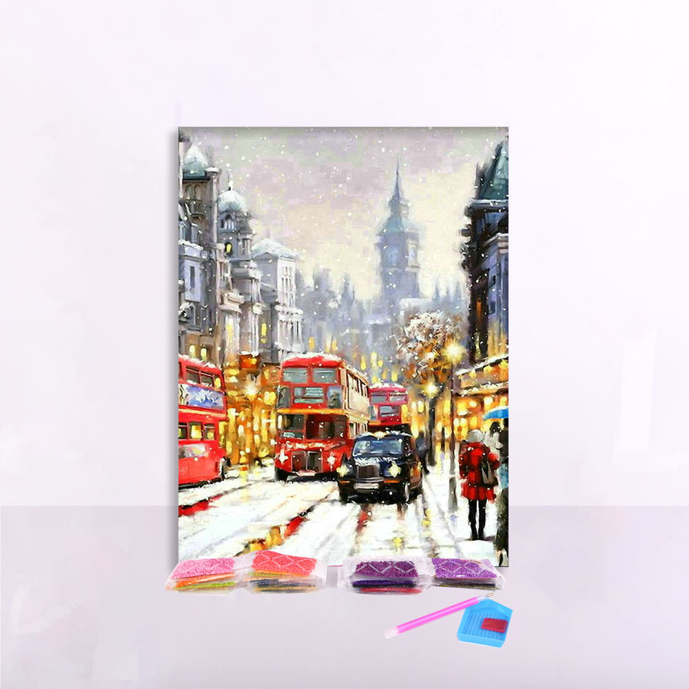Custom Picture City Street Scenery Diy 5D Full Drill Round Diamond Painting for Adults