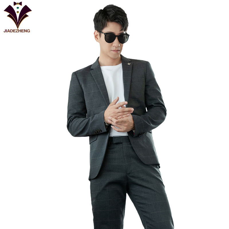 China style men plaid blazer fancy tuxedo mens slim fit suits