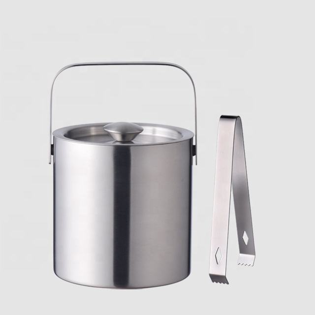 Factory Direct 1.3L customized insulated cool double wall small mini stainless steel metal buckets with lid and tongs