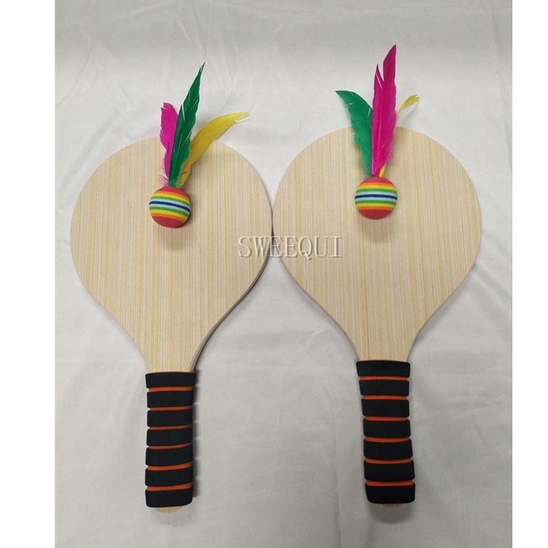 customized eco-friendly and professional wooden beach racket wooden beach paddle