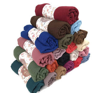 Top Selling Soft Cotton Shawl Scarf Muslim Women Crinkle Head wrap Wrinkled Hijab Scarf