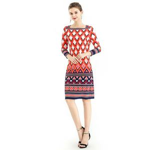 Summer High Quality Fashion Elegant Print Long Evening Casual Women Office Dresses