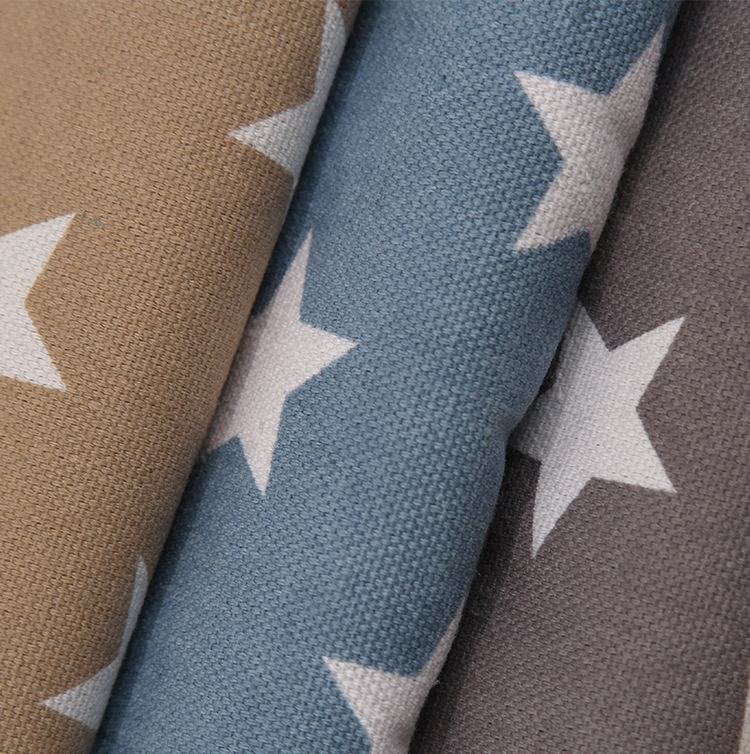 Free sample wear-proof waterproof plain star print polyester cotton canvas fabric wholesale for sofa cover