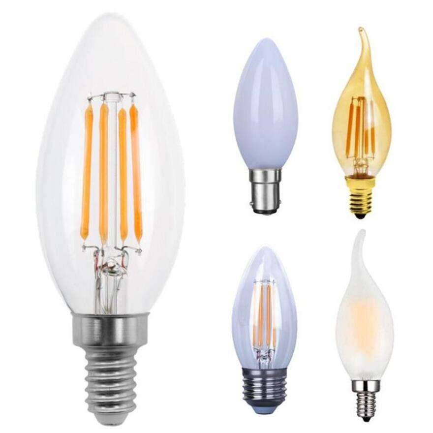 China Supplier E12 E14 E26 E27 C35 C35T G45 2W 4W 5W Clear Amber Dimmable LED Filament Bulbs