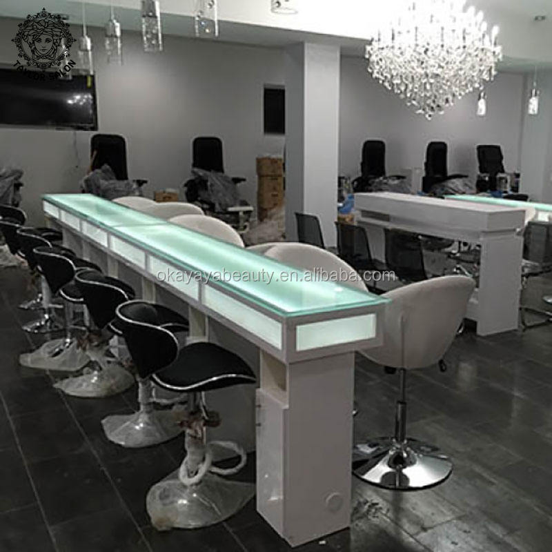 Nails salon equipment furniture luxury glass tables used nail bar desk imc vented manicure table for sale