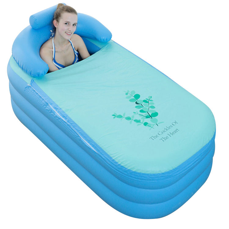 140cm PVC Blue Comfortable Inflatable Bathtub for Adults