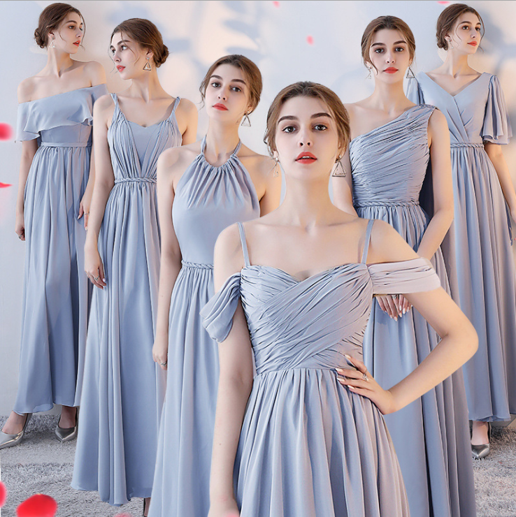 Casual Dress Summer off Shoulder Back Bandage Pink Grey Chiffon Women Wedding party long evening Bridesmaid Dress