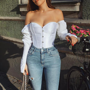 Off Shoulder Tops Strapless Bow Bustier Shirt Vrouwen Elegante Mode Lange Mouw Korsetten Blouse Club Corset Top Vrouwen Sexy