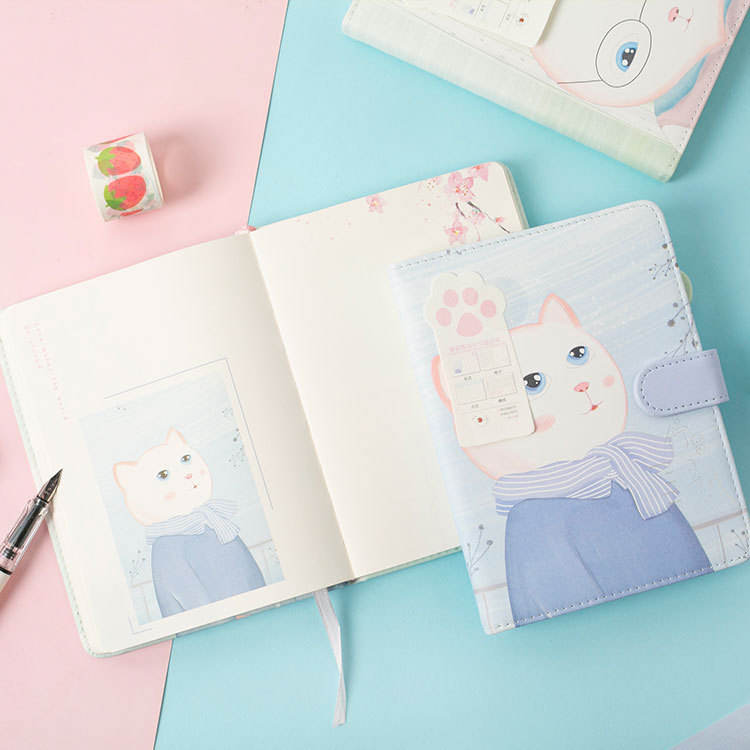 yiwu school supplies journals and stationery cartoon cat personalized hard cover notepad girls leather vintage student diary