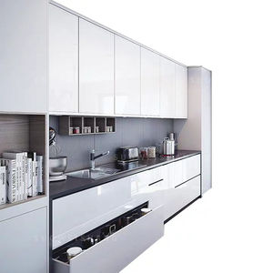 luxury white shaker pvc modern high gloss acrylic designs kitchen cabinet sets made in china