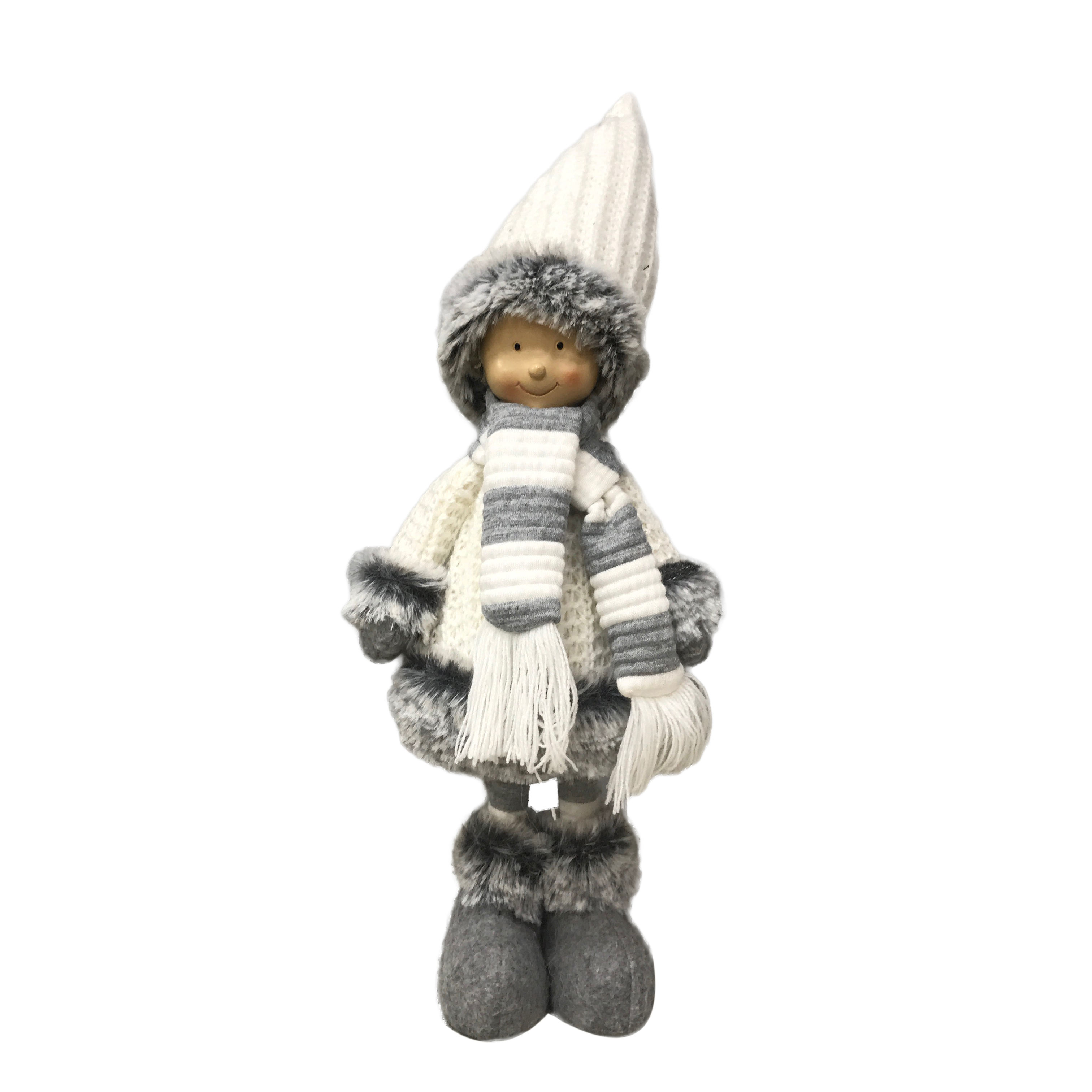 Home Ornament Christmas Knitted Fabric Dolls Standing Boy with Woolen Scarf and Hat