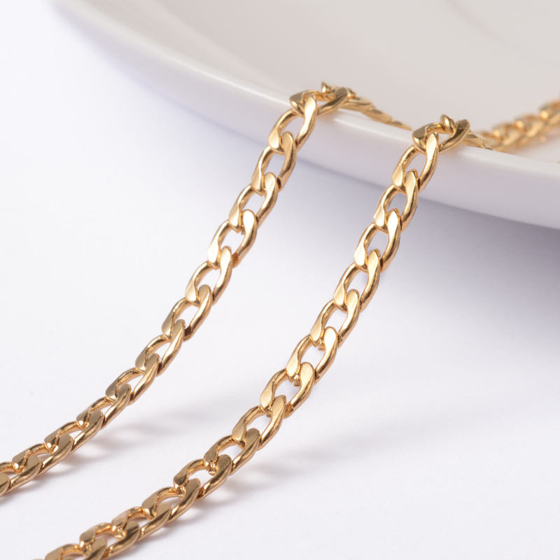 PandaHall 3mm 304 Stainless Steel Golden Twisted Curb Chains