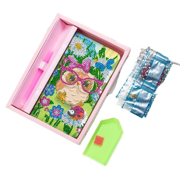 DIY Diamond Painting Set Kids Notebook Children Crystal Stickers Handmade Diary Creative Material Package