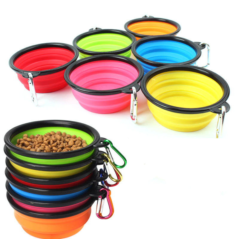 New Outdoor Travel Portable Collapsible Foldable Silicone Puppy Doogie Dog Bowl