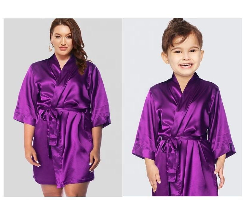 Wanita Plus Ukuran Sutra Jubah Bridesmaid Plus Ukuran Satin Jubah