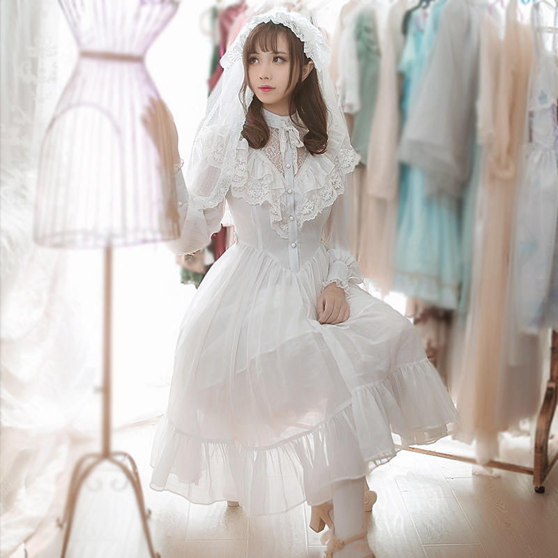 Lolita dress high collar lace spring and autumn chiffon openwork sleeve palace retro dress
