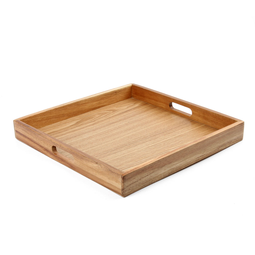 Wholesale Custom Coffee Tea Table Serving Platter Wood Tray Large Ottoman serving Tray