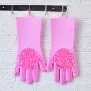 Magic Silicone Dishwashing Gloves Reusable Cleaning Brush Household Cleaning Tableware