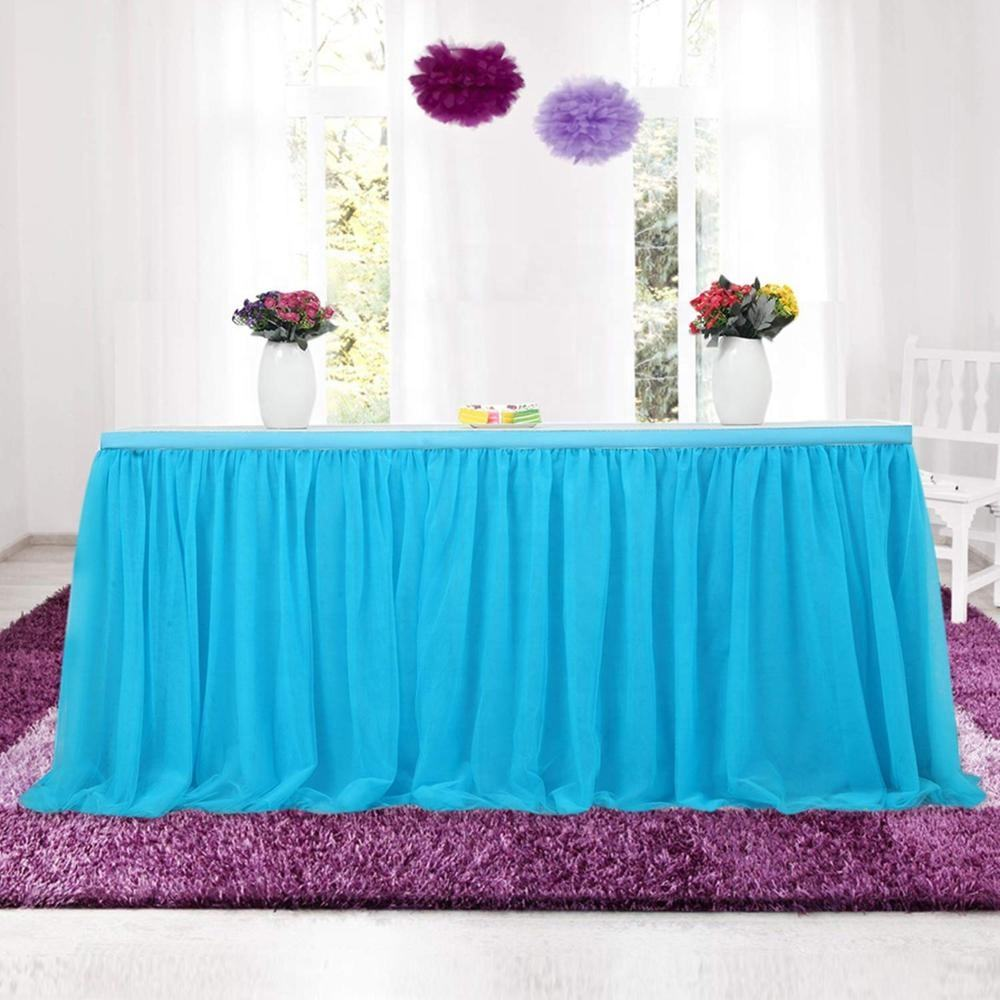 Wholesale Handmade Fancy Ruffled Tulle Party Banquet Wedding Event Table Skirt For 14/17/21ft Table