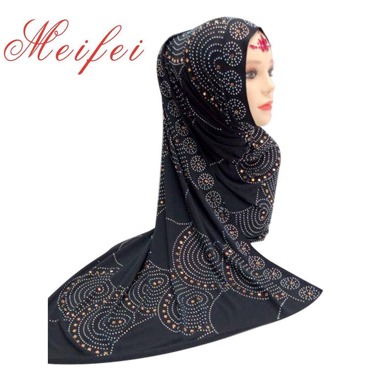 2019 Cheap Muslim Beaded Point Drill Circle Pattern Square Polyester Abaya Shawl Wrap Head Muslim Scarves Hijabs