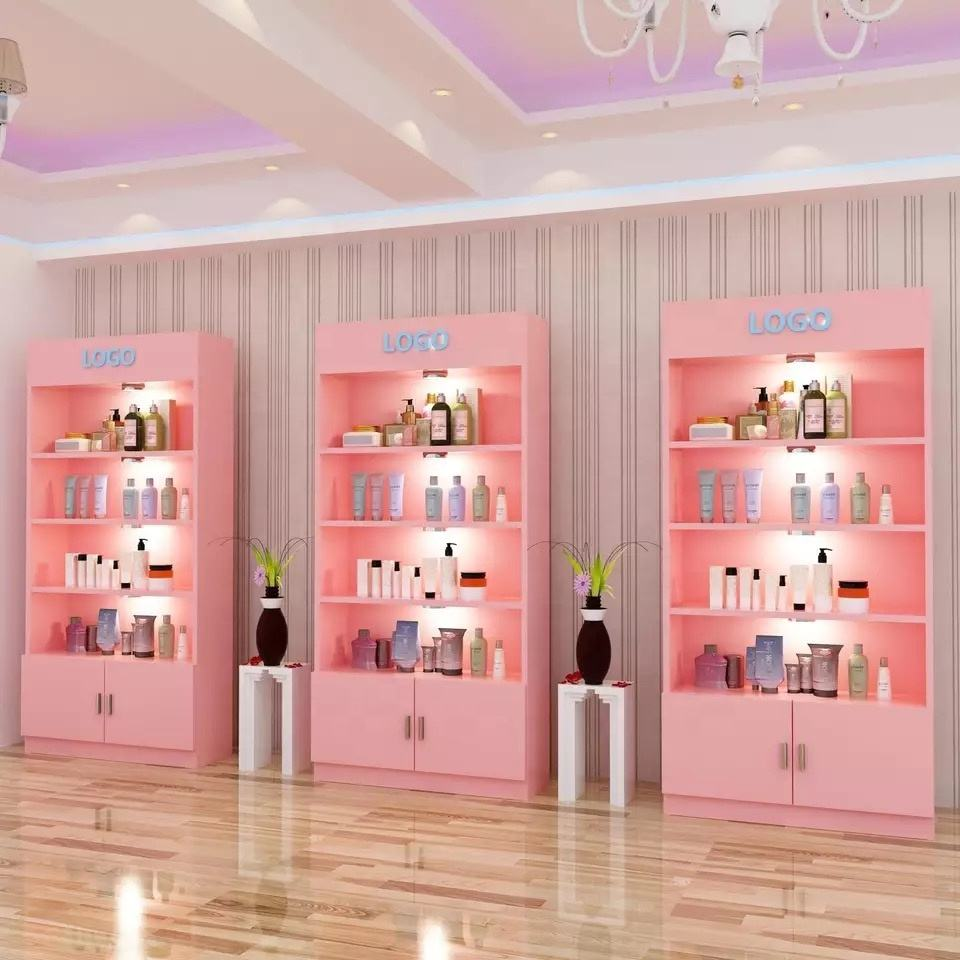 Custom Hout Make-Up Nagellak Kiosk Nail Display Plank Cosmetische Display Stand