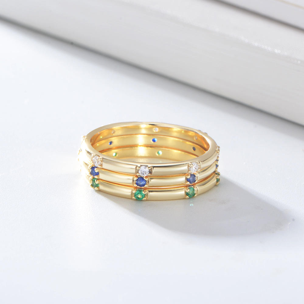 Dainty Simple Gold Plated 925 Sterling Silver Diamond Stacking Wedding Ring For Women Jewelry