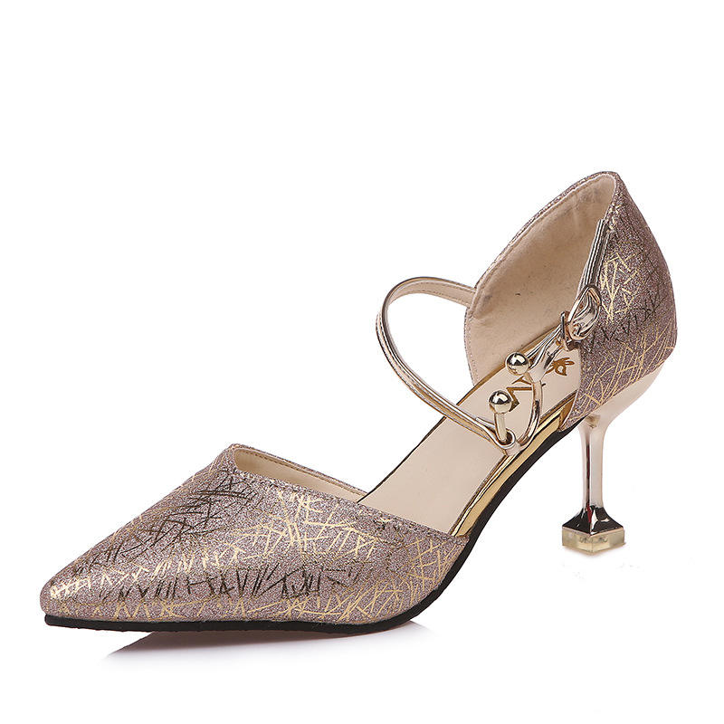 Wholesale Fashion Girls Tacones Altos Tallas Grandes Party Luxury Women High Heels Gold