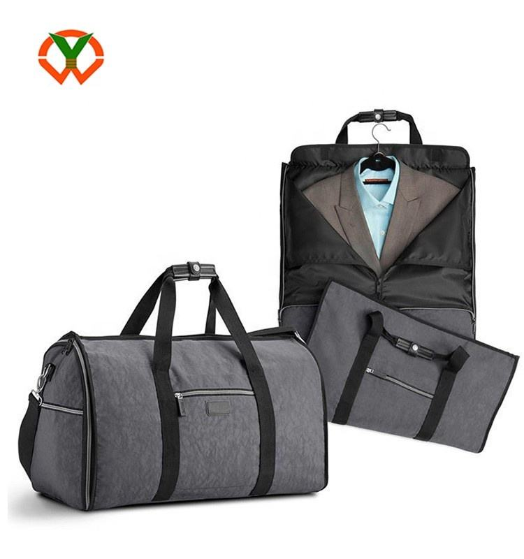 High quality customs China Men's 2 In 1 Garment Bag + Duffle Business Travel Portable Suit garment bag