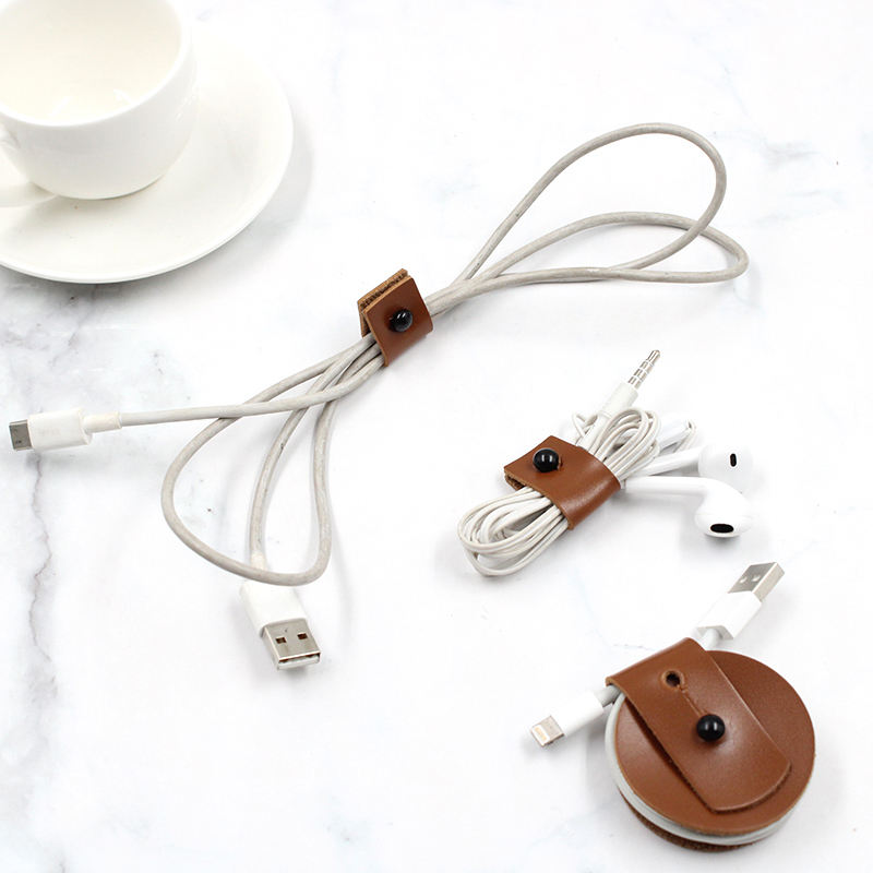 New arrived Portable Leather Cable Holder USB Wire Winder Earphone Organizer