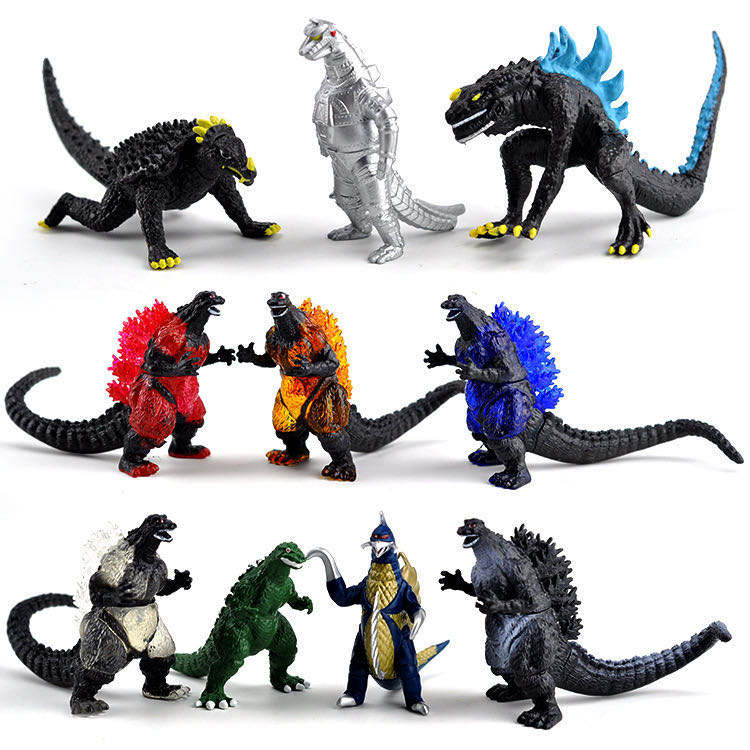 10pcs Multi color godzilla action figure, wholesale and Custom godzilla monster pvc toy, monster action figure