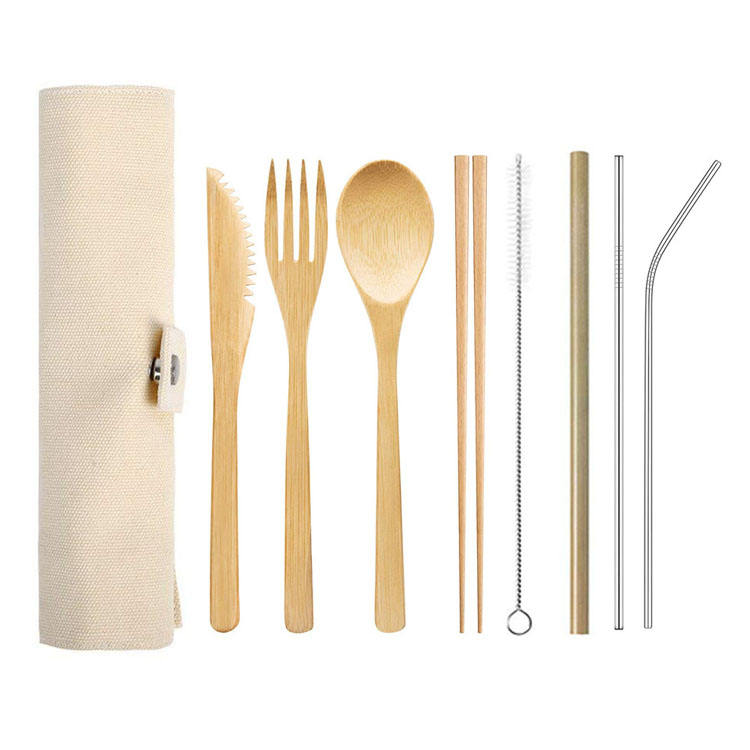 Biodegradable Bamboo Straw Toothbrush Spoon Fork Knife Travel Wooden Bamboo Cutlery Set