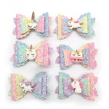 New Style Sequins Unicorn Bow Hair Clip Bright Glitter Girls Hair Clips Sparkle Hair Accessories