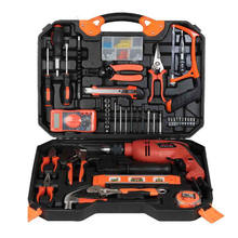 Woodworking Electric Hardware Tool Set Electric Drill Household Toolbox Electrician Maintenance Combination Set Impact Drill