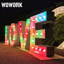WOWORK holiday custom solid 4ft waterproof event hiring giant love letters lighting for wedding stage plug driven