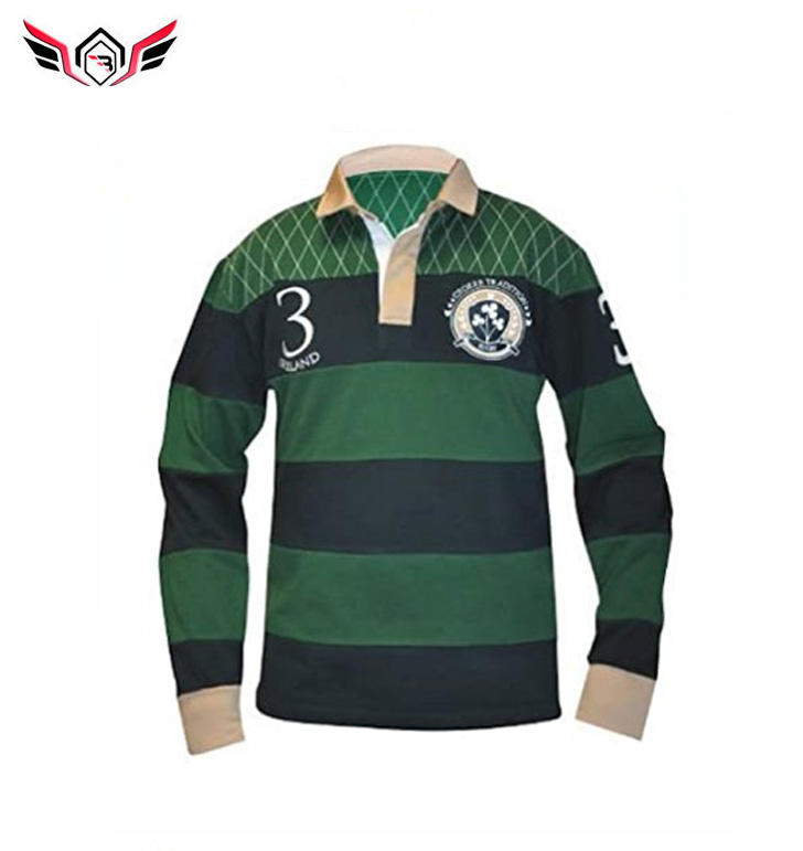 Wholesale Men's Sewn Stripe Long Sleeve Rugby Sports Polo Shirt With Logo Design Top Quality Shirts