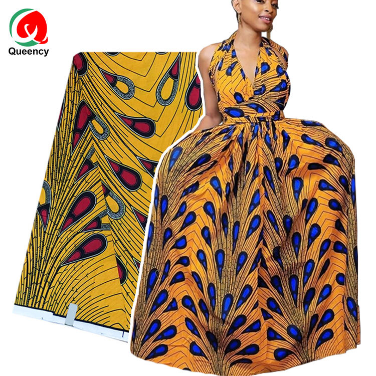 Queency 2020 Soft 100%Cotton African Wax Fabric Ankara Wax Print Fabric Yellow Raindrops Design