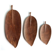 Rustic 3 piece nesting wooden tray with handle leaf shape wooden tea serving tray