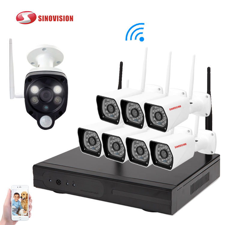 Sinovision 8CH 1080P WiFi NVR PIR Kits 2.0MP IR Outdoor Weatherproof CCTV Wireless IP Camera Security Video Surveillance System