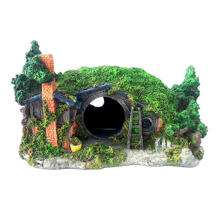 Resina aquário paisagismo casa hobbit anão decoração buraco de fuga para o tanque de peixes