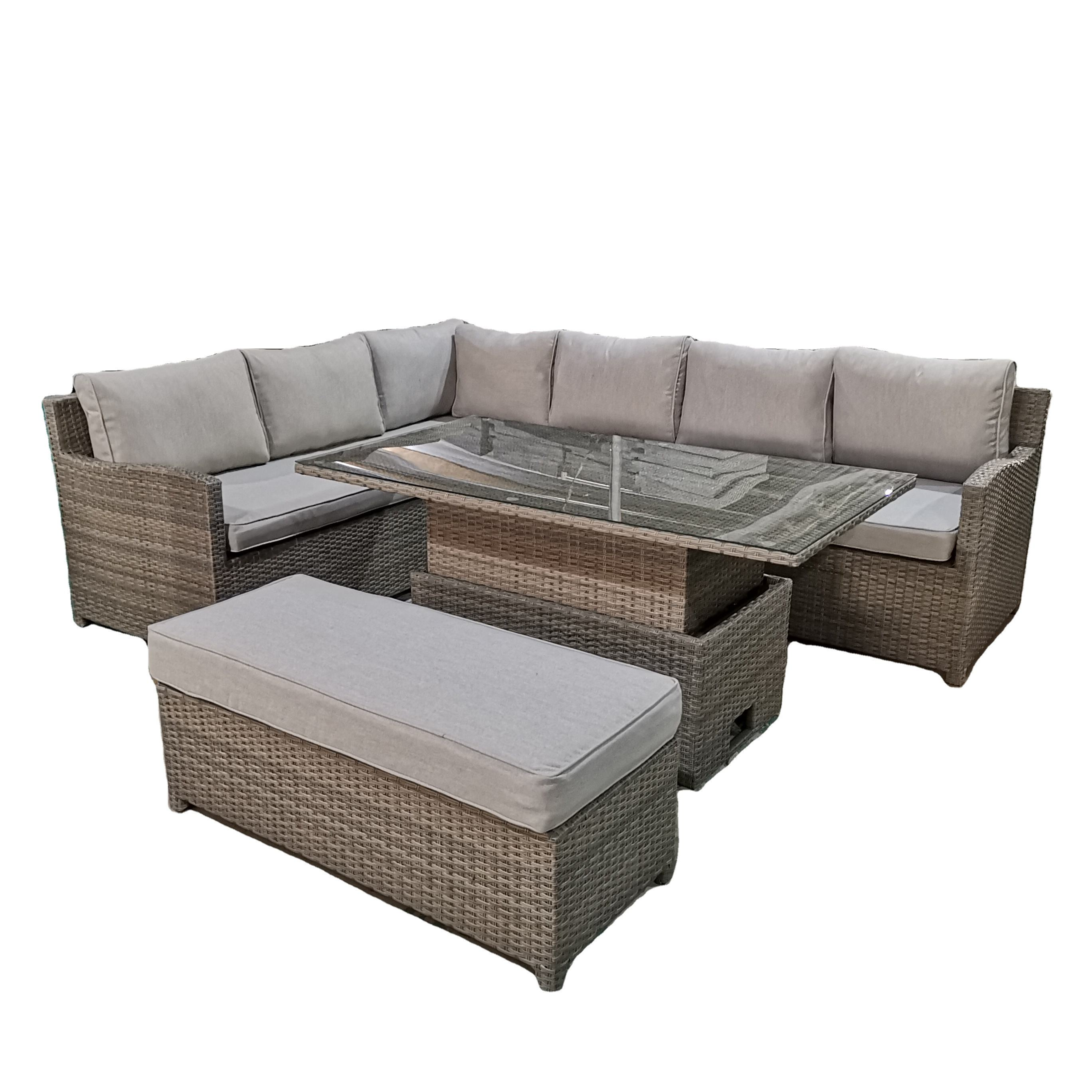 Rattan High Back Large Corner Sofa Set with Rising Table Corner Dining Set with Adjustable Height Table