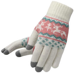 Winter Women Touchscreen Gloves Deer Christmas Warm Knit Out