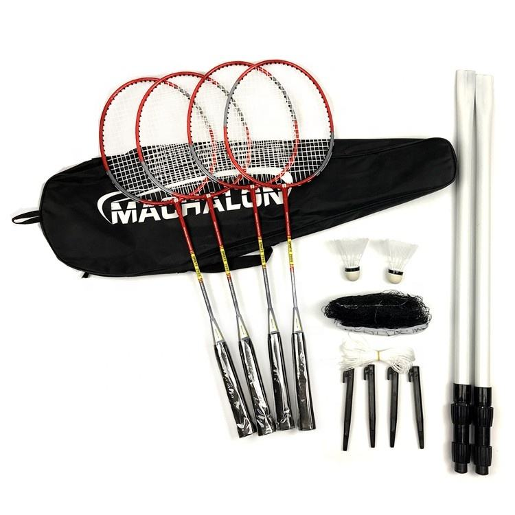 Draagbare Shuttle Bal Badminton Set Custom Badminton <span class=keywords><strong>Racket</strong></span> Sets Quick Set Up Aluminium Lichtgewicht <span class=keywords><strong>Racket</strong></span> Badminton Set