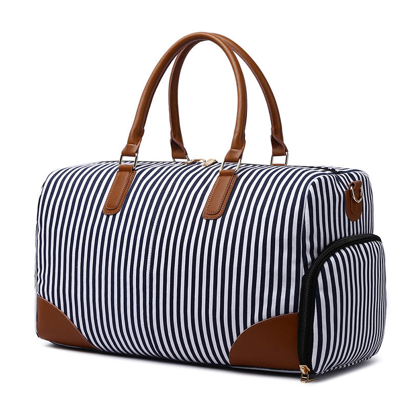 Fashionable stripe large traveling womens weekend duffle bag with shoes compartment