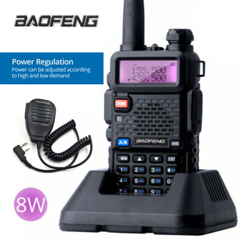 BaoFeng UV-5R Real 8W <span class=keywords><strong>Walkie</strong></span> <span class=keywords><strong>Talkie</strong></span> Dual Band VHF/<span class=keywords><strong>UHF</strong></span> FM Rádio uv-5r Speaker Mic