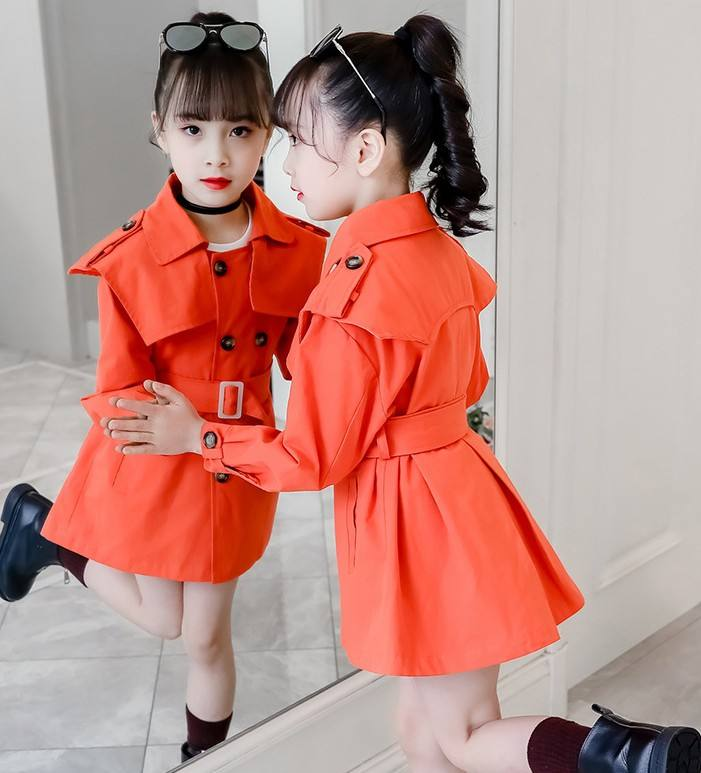 Child Kid Lapel Double Breasted Outwear Pea Trench Coat autumn winter brand fashion outwear